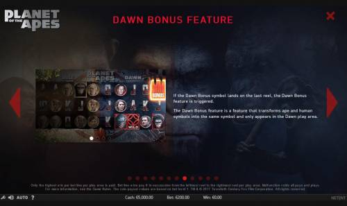 Planet of the Apes Review Slots Dawn Bonus Feature Rules