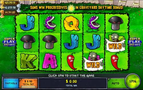 Plants vs Zombies Backyard Showdown Review Slots Main game board featuring five reels and 243 winning combinations with a progressive jackpot max payout