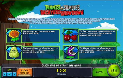 Plants vs Zombies Backyard Showdown Review Slots During the main game any symbol may have its special functionality randomly activated. When this function occurs, the symbol will first pay the player for the symbols regular functionality and then for the speial function as applicable.