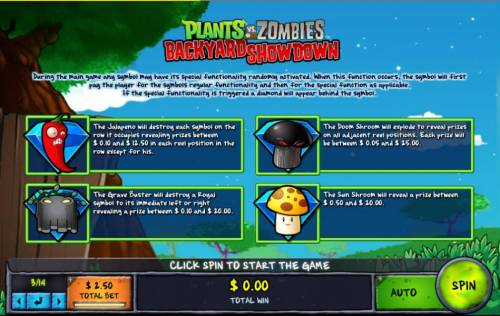 Plants vs Zombies Backyard Showdown Review Slots During the main game any symbol may have its special functionality randomly activated. When this function occurs, the symbol will first pay the player for the symbols regular functionality and then for the speial function as applicable. If the special fun