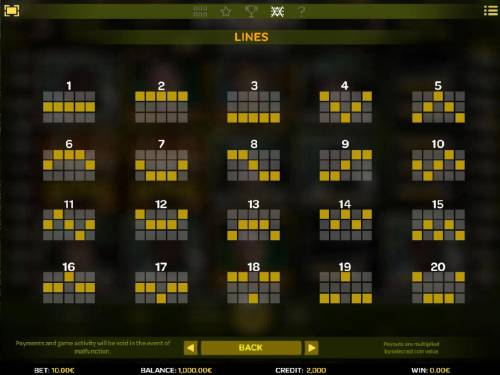 Platoon Wild Review Slots Payline Diagrams 1-20