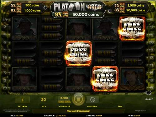 Platoon Wild Review Slots Three Free Spins scatter symbols triggers the Free Games feature.
