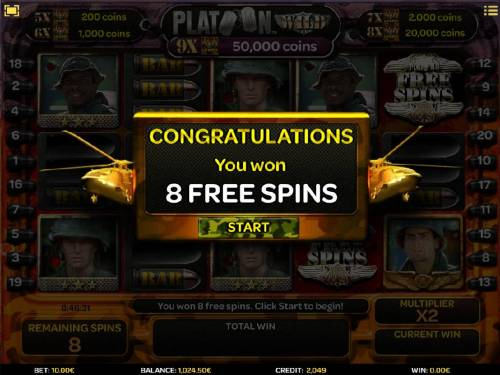 Platoon Wild Review Slots 8 free spins awarded.