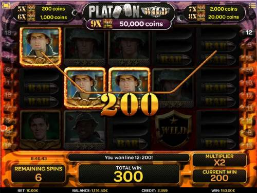 Platoon Wild Review Slots A three of a kind triggers a 200 coin payout during the free spins feature.