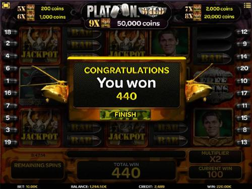 Platoon Wild Review Slots Total free spins prize award of 440 coins