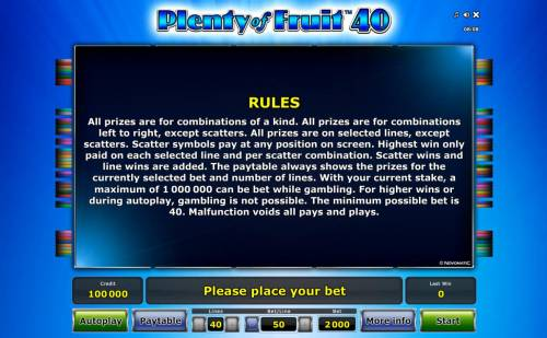 Plenty of Fruit 40 Review Slots General Game Rules