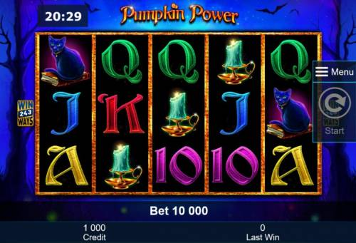 Pumpkin Power Review Slots Main game board featuring five reels and 243 winning combinations with a $5,000,000 max payout
