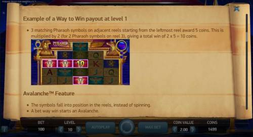 Pyramid Quest for Immortality Review Slots Example of a Way to Win payout at level 1