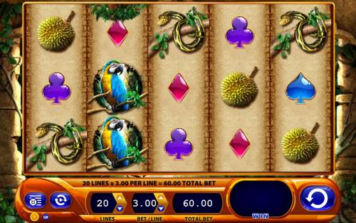 Queen of the Wild Review Slots A jungle themed main game board featuring five reels and 20 paylines with a $2,250 max payout