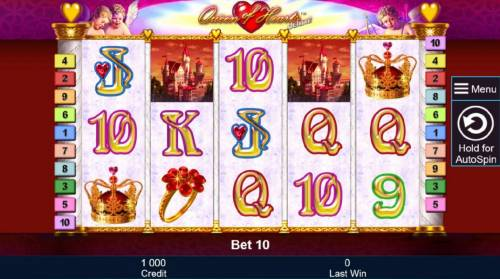 Queen of Hearts Deluxe Review Slots Main game board featuring five reels and 10 paylines with a $10,000,000 max payout