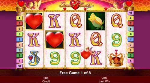 Queen of Hearts Deluxe Review Slots During the Free Games feature, cupid may appear after each spin randomly placing red heart wilds on the reels.