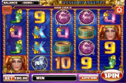 Queen of Legends Review Slots Main game board featuring five reels and 40 paylines with a $1,600,000 max payout