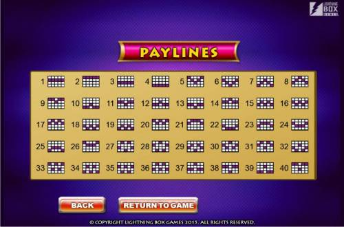 Queen of Legends Review Slots Payline Diagrams 1-40