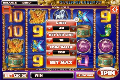 Queen of Legends Review Slots Click on BET to select wys to bet, multiplier bet and coin size