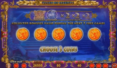 Queen of Legends Review Slots Choose three coins to reveal your prize.