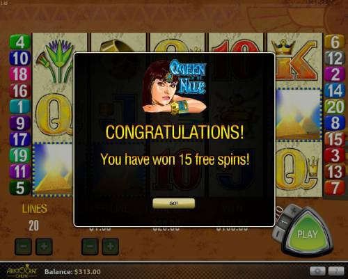 Queen of the Nile Review Slots Three or more Pyramid scatter symbols anywhere triggers 15 free games with all wins multiplied by 3x.