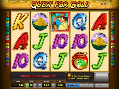 Quest for Gold Review Slots Main game board featuring five reels and 20 paylines with a $5,000 max payout