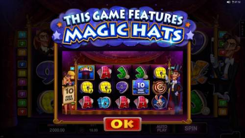 Rabbit in the Hat Review Slots This game features magic hats that appear across the top of the gameboard. When a wild symbols lands on a reel with a magic hat above the reel a prize is awarded.