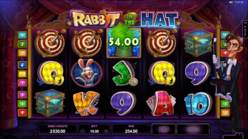 Rabbit in the Hat Review Slots A Magic Hats prize award and a four of a kind triggers a $254 big win!