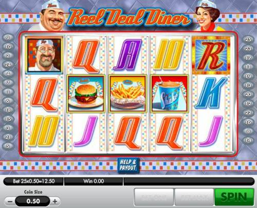 Reel Deal Diner Review Slots Landing a hamburger, fries and shake on the reels 2, 3 and 4 triggers the bonus game.