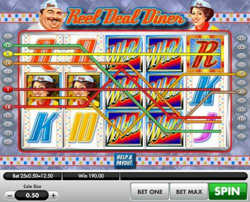 Reel Deal Diner Review Slots Multiple winning paylines triggers a 190.00 big win!