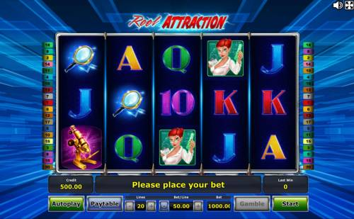 Reel Attraction Review Slots Main game board featuring five reels and 20 paylines with a $1,000,000 max payout