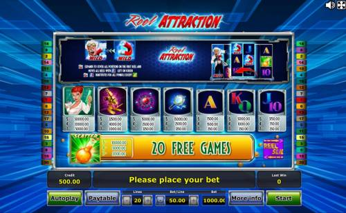Reel Attraction Review Slots Slot game symbols paytable.