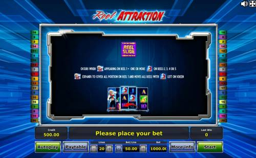 Reel Attraction Review Slots Reel Slide Feature - Occurs when Mad Scientist Wild appears on reel1 and one or more Magnet Wild on reels 2, 3, 4 or 5.