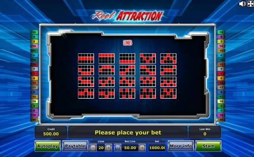 Reel Attraction Review Slots Payline Diagrams 1-20