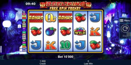 Reel King Free Spin Frenzy Review Slots Main game board featuring five reels and 20 paylines with a $250,000 max payout