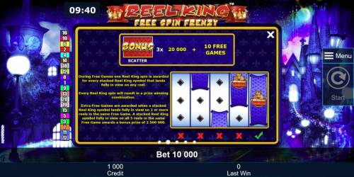Reel King Free Spin Frenzy Review Slots 3 cap and bell bonus symbols awards 20,000 plus 10 free games.