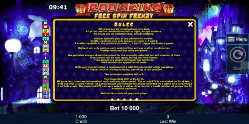 Reel King Free Spin Frenzy Review Slots General Game Rules - The theoretical average return to player (RTP) is 95.31%.