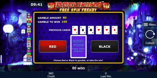 Reel King Free Spin Frenzy Review Slots Gamble feature game board is available after every winning spin. For a chance to increase your winnings, select the correct color or suit of the next card or take win.