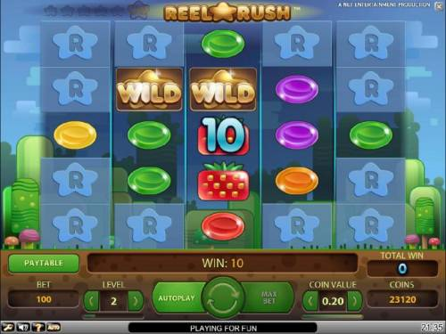 Reel Rush Review Slots a pair of wilds triggers a ten coin jackpot leading to a re-spin with expanded reel psoitions