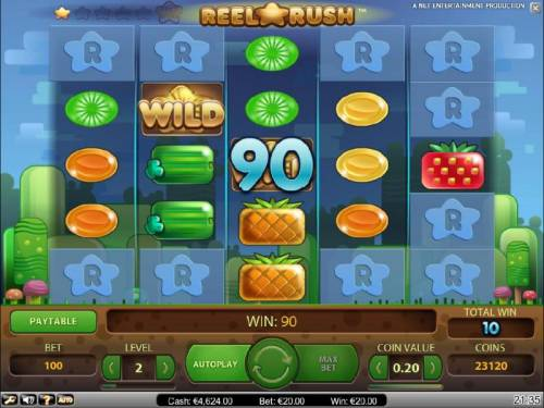 Reel Rush Review Slots re-spin feature triggers a 90 coin payout and additonal reel positions are uncovered for another re-spin.