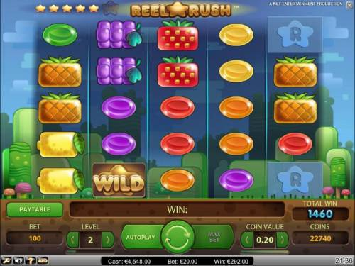 Reel Rush Review Slots finally, after several re-spins we end up with a 1460 coin big win
