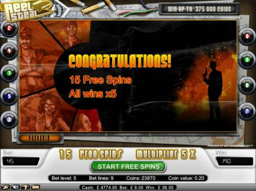 Reel Steal Review Slots 15 free spins with a x5 multiplier on all wins awarded