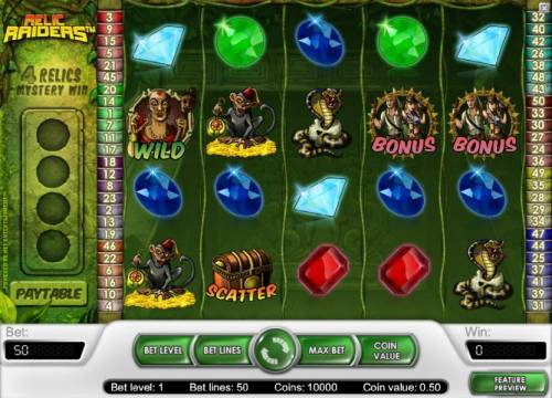 Relic Raiders Review Slots main game board featguring five reels and fifty paylines