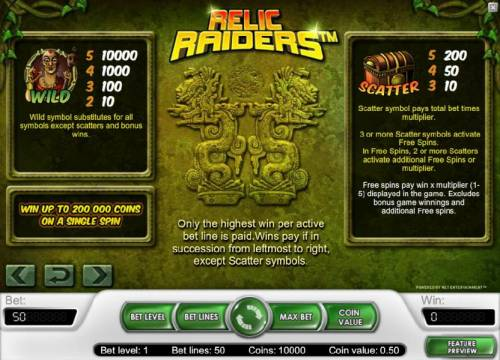 Relic Raiders Review Slots wild and scatter symbols paytable and rules