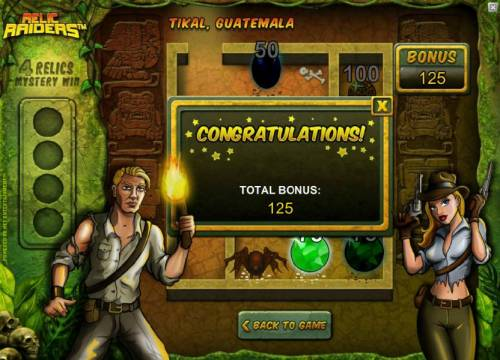 Relic Raiders Review Slots bonus feature pays out 125 coins