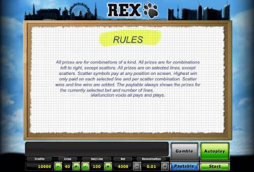 Rex Review Slots General Game Rules
