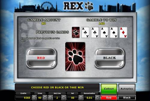 Rex Review Slots Gamble feature game board is available after every winning spin. For a chance to increase your winnings, select the correct color of the next card or take win.