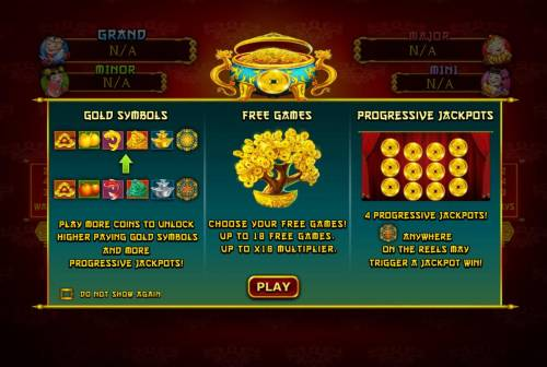 Ri Ri Sheng Cai Review Slots Game features include: Gold Symbols, Free Games and Progressive Jackpots.