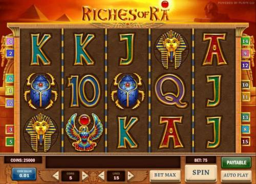Riches of Ra Review Slots main game board featuring five reels and 15 paylines