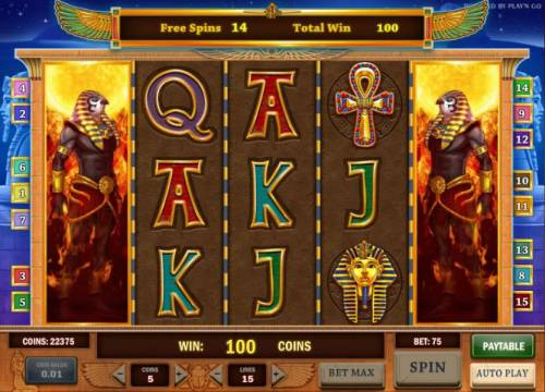 Riches of Ra Review Slots free spins game board - stacked wilds on reels 1 and 5 will stay in place during the free spins