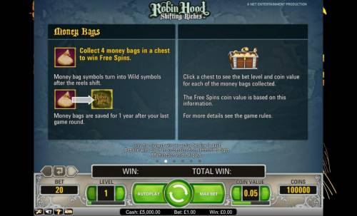 Robin Hood - Shifting Riches Review Slots Robin Hood Shifting Riches money bags and treasure chests