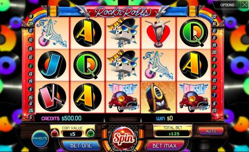 Rock'n Rolls Review Slots Main game board featuring five reels and 25 paylines with a $50,000 max payout.