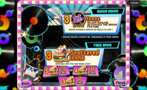 Rock'n Rolls Review Slots Bonus Round and Free Spins Rules
