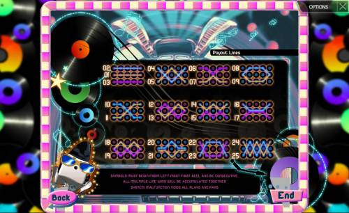 Rock'n Rolls Review Slots Payline Diagrams 1-25. Symbols must begin from the left most first reel and be consecutive.