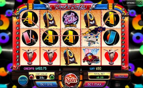 Rock'n Rolls Review Slots A winning Five of a Kind triggers a 50.00 line pay out.